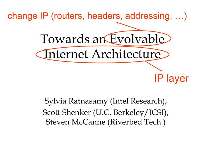 towards an evolvable internet architecture n.