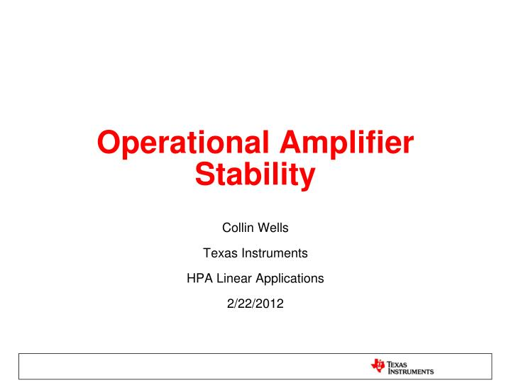 operational amplifier stability n.