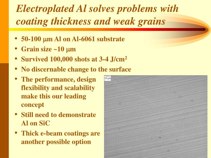 Electroplated Al solves problems with coating thickness and weak grains