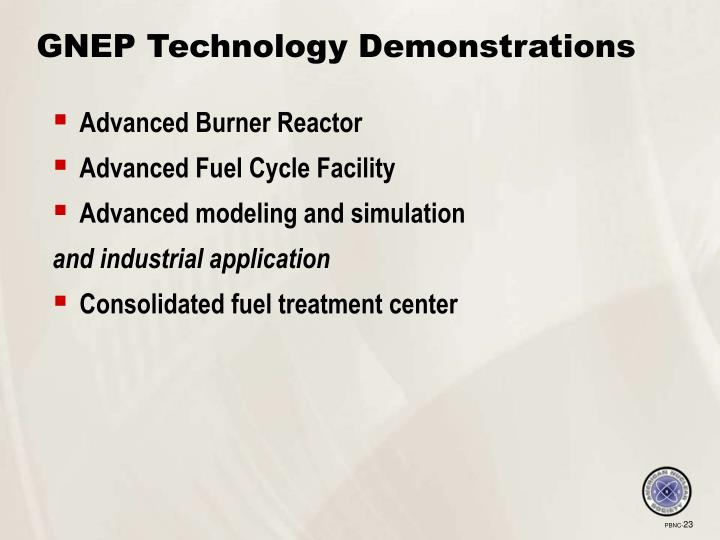 GNEP Technology Demonstrations