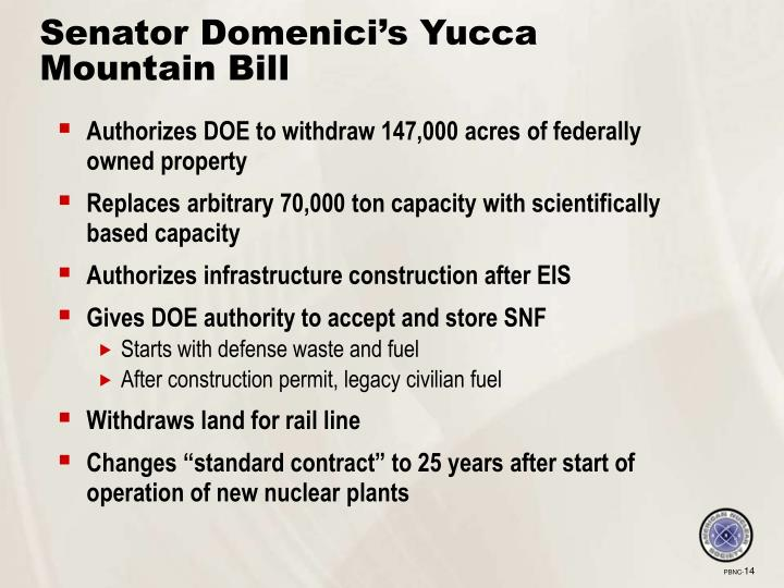 Senator Domenici's Yucca Mountain Bill