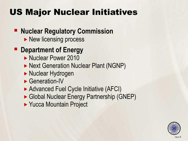 US Major Nuclear Initiatives