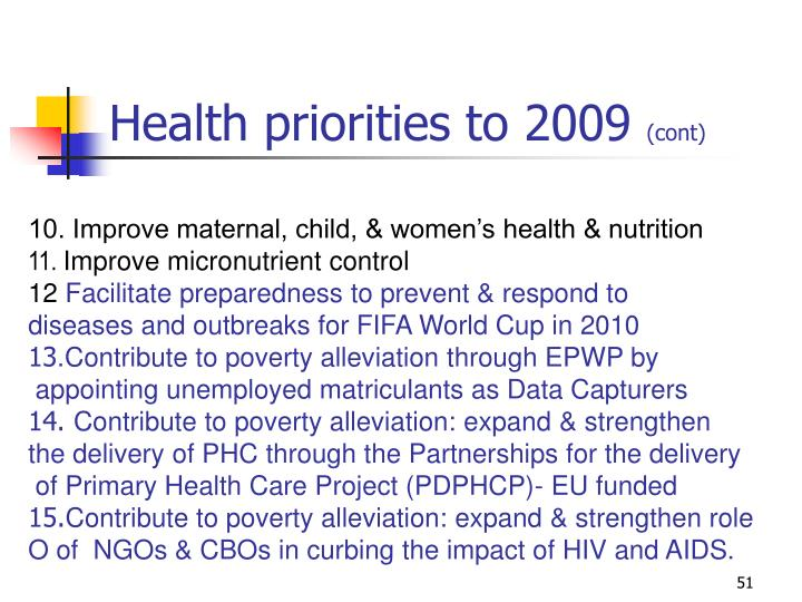 Health priorities to 2009