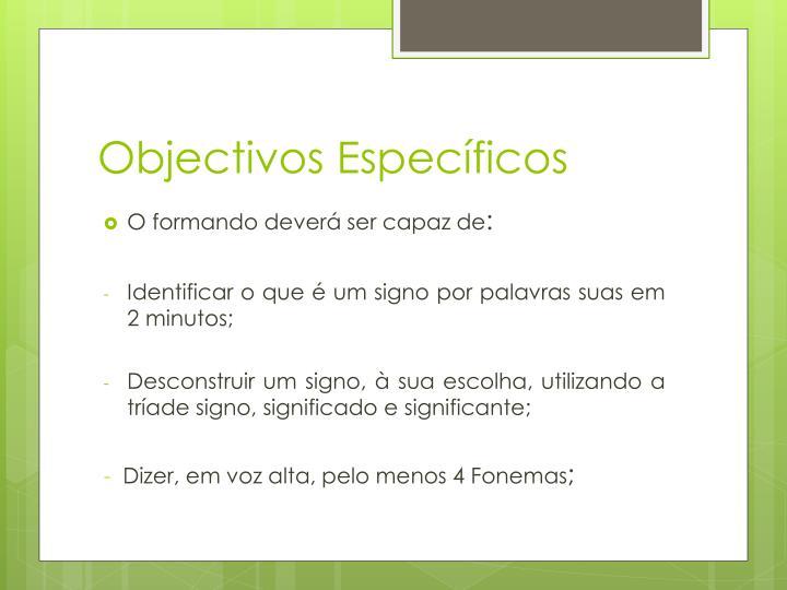 Objectivos espec ficos