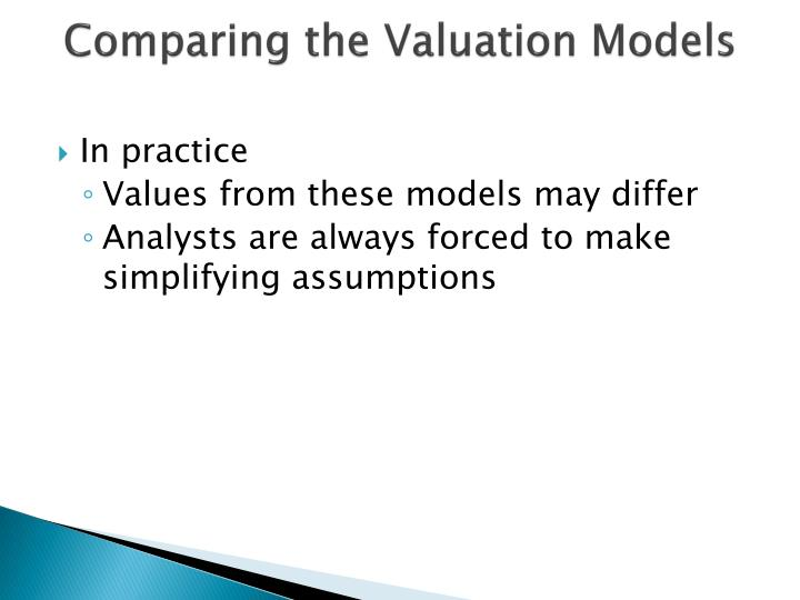Comparing the Valuation Models