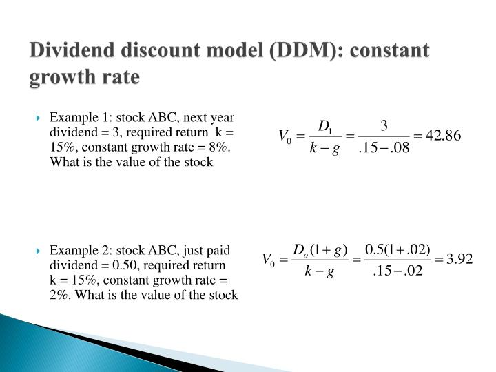 Dividend discount model (DDM): constant growth rate
