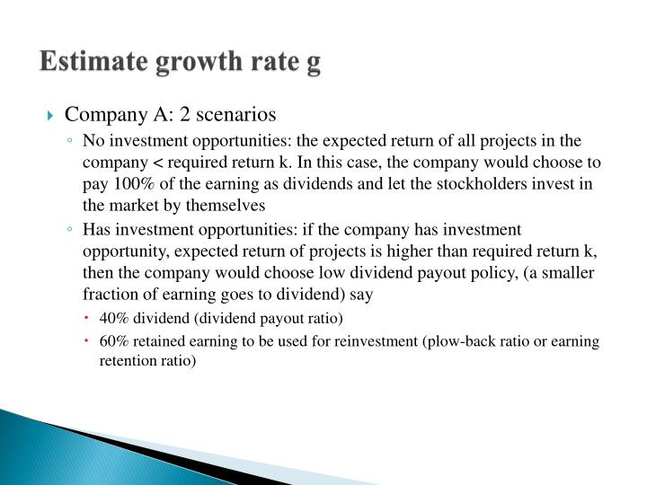 Estimate growth rate g