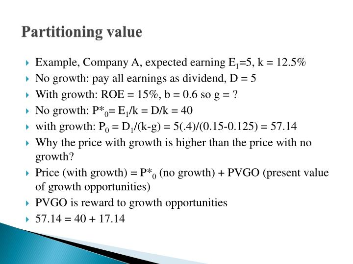 Partitioning value