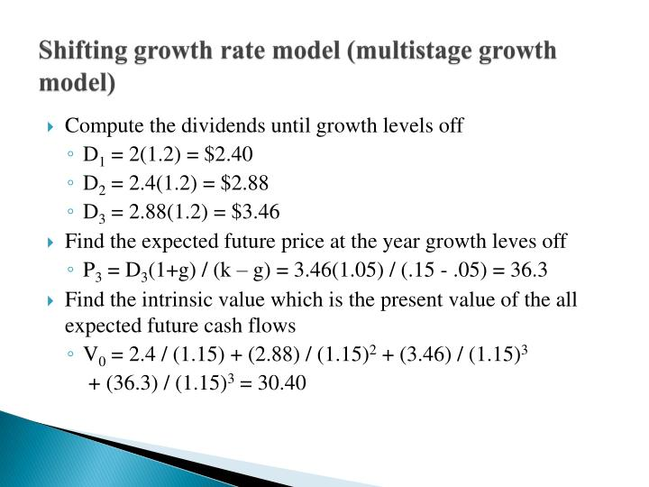Shifting growth rate model (multistage growth model)