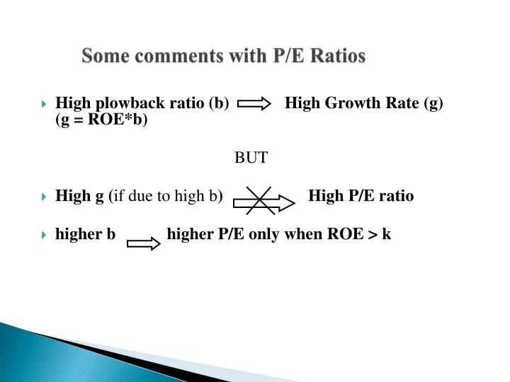 Some comments with P/E Ratios