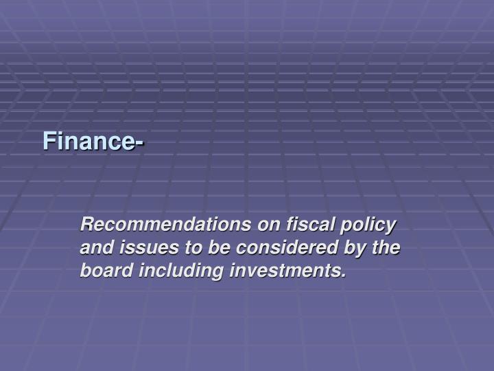 Finance-