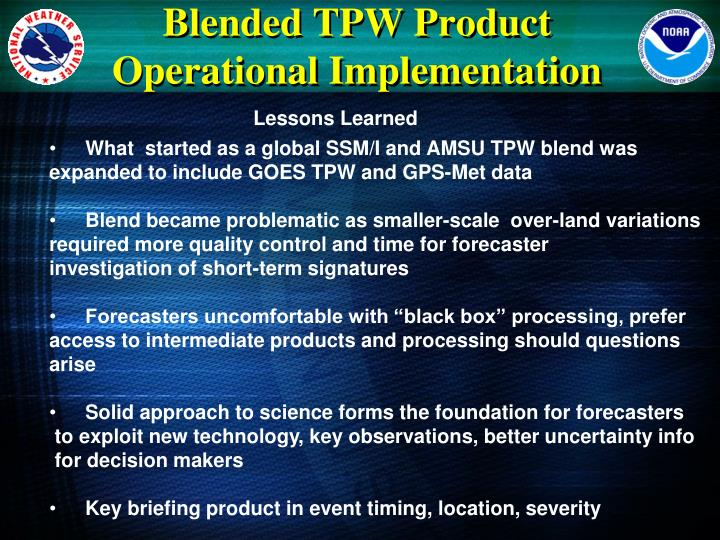 Blended TPW Product