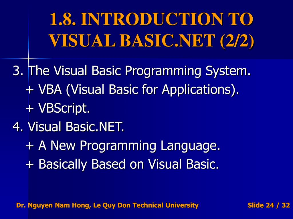PPT - VISUAL BASIC NET PROGRAMMING PowerPoint Presentation