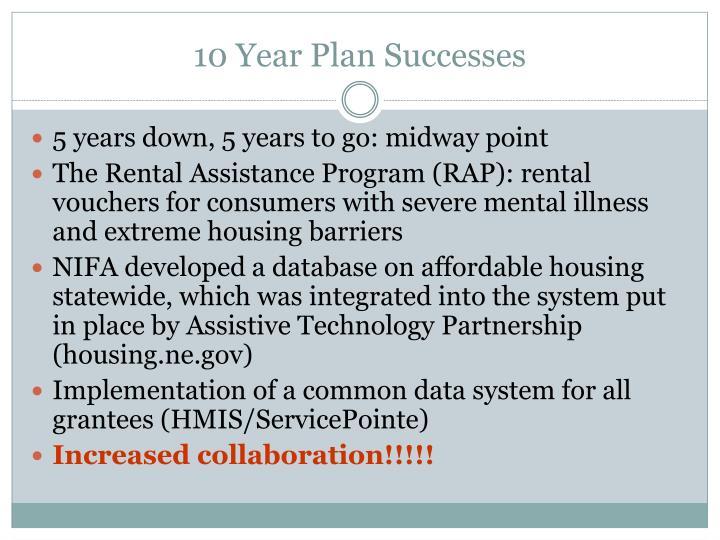10 Year Plan Successes