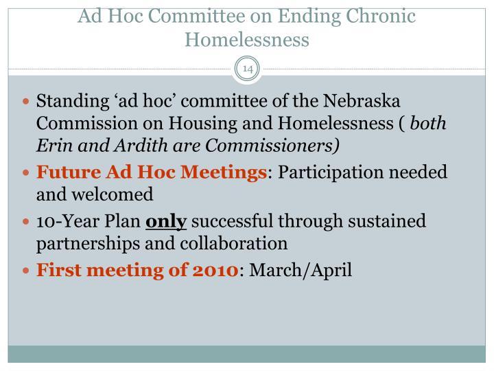 Ad Hoc Committee on Ending Chronic Homelessness