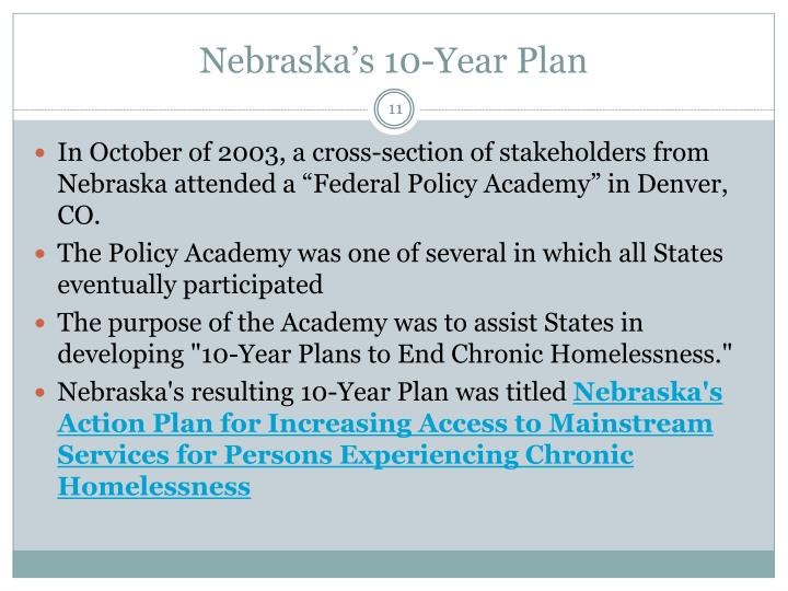 Nebraska's 10-Year Plan