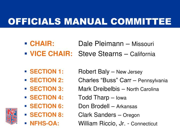 Officials manual committee