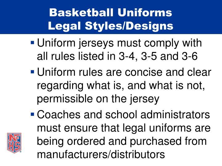 Basketball uniforms legal styles designs