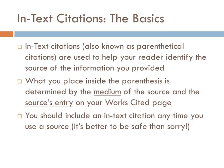 In text citations the basics
