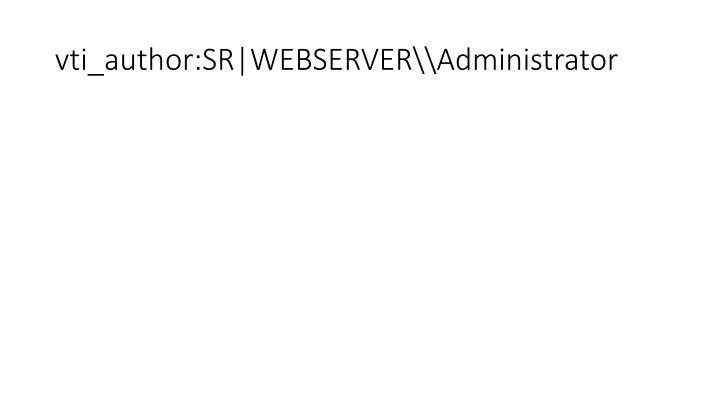 Vti author sr webserver administrator