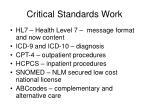 critical standards work