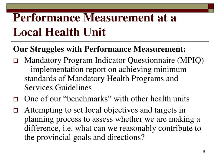 Performance Measurement at a Local Health Unit