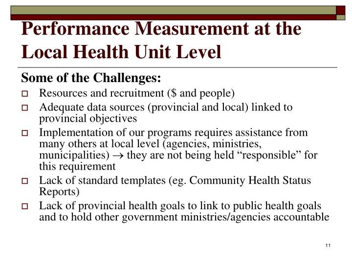 Performance Measurement at the Local Health Unit Level