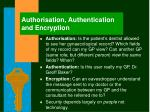 authorisation authentication and encryption