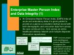 enterprise master person index and data integrity 1