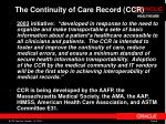 the continuity of care record ccr
