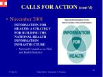 calls for action cont d