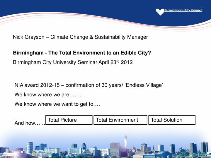 Nick Grayson – Climate Change & Sustainability Manager