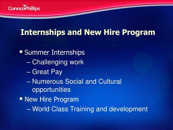 Internships and new hire program