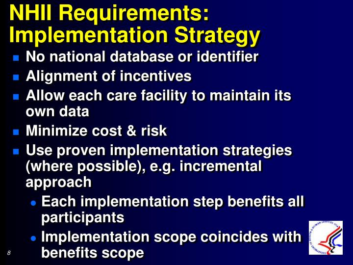 NHII Requirements: Implementation Strategy