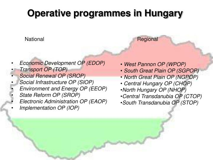 Operative programmes in hungary