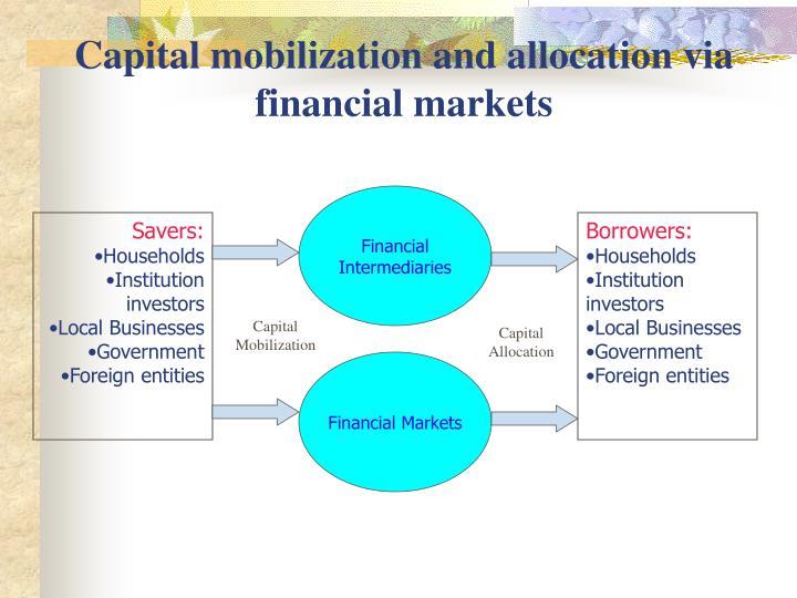 Capital mobilization and allocation via financial markets