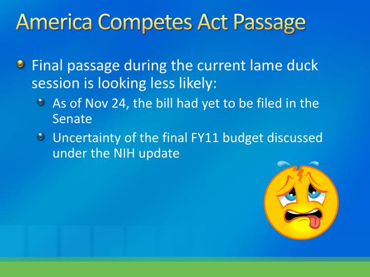 America Competes Act Passage