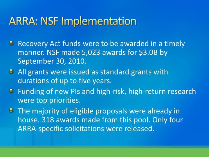 ARRA: NSF Implementation