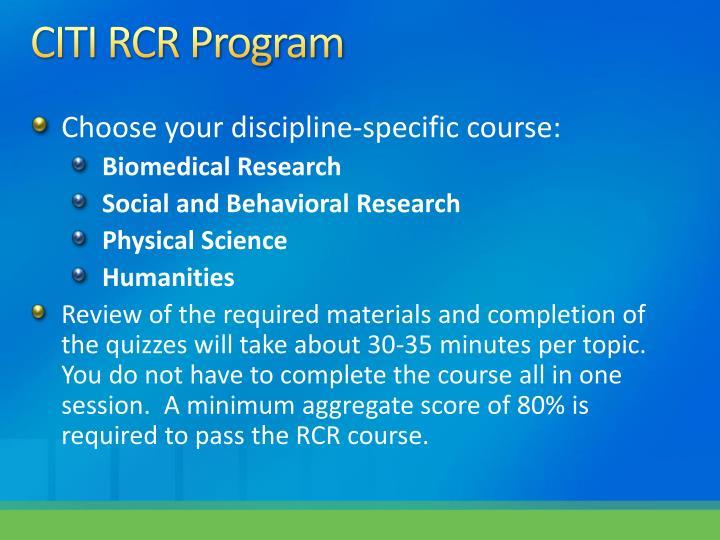 CITI RCR Program
