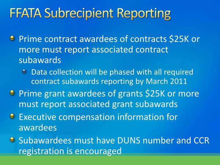 FFATA Subrecipient Reporting