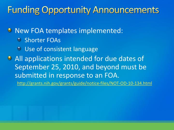 Funding Opportunity Announcements