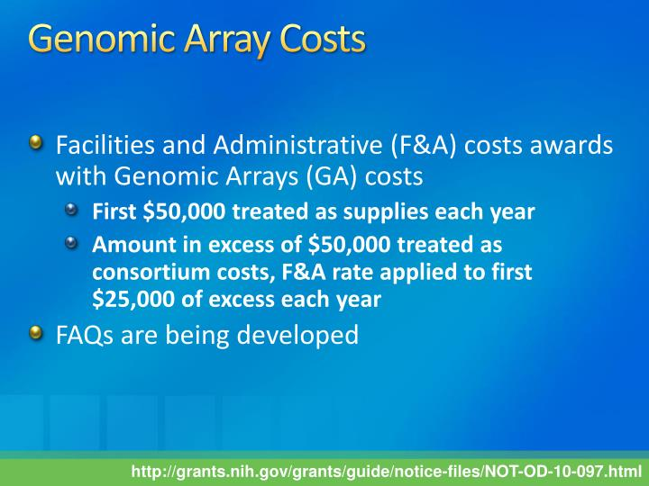 Genomic Array Costs
