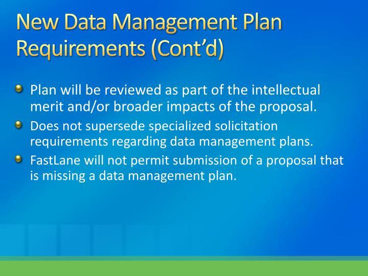 New Data Management Plan