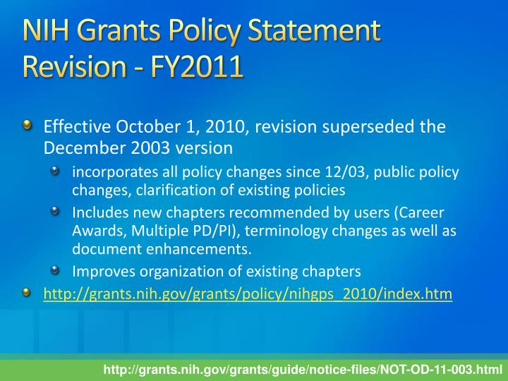 NIH Grants Policy Statement Revision - FY2011