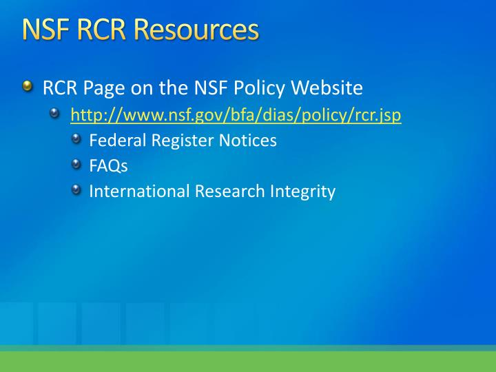 NSF RCR Resources
