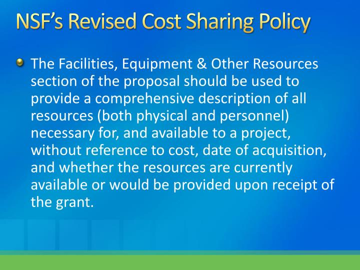NSF's Revised Cost Sharing Policy