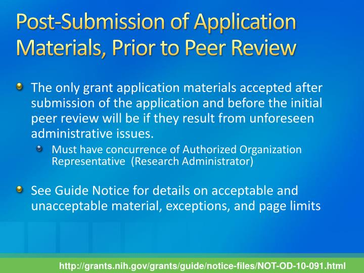 Post-Submission of Application Materials, Prior to Peer Review