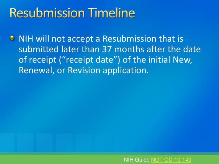 Resubmission Timeline