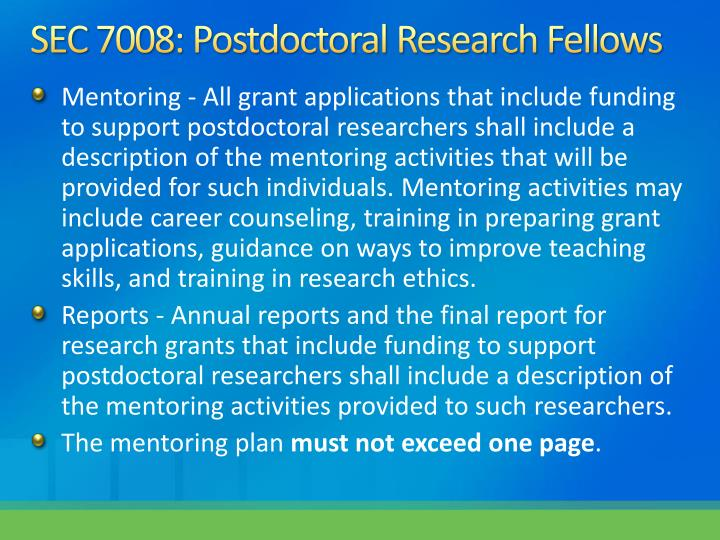 SEC 7008: Postdoctoral Research Fellows
