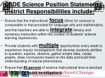 csde science position statement 2008 district responsibilities include